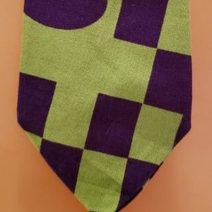 Other - New Wave 1980's green and purple cotton neck tie